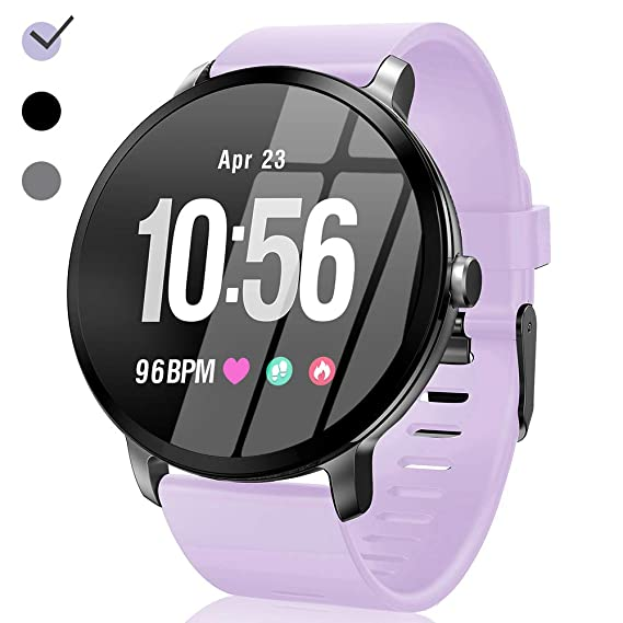 Sport Fitness Tracker Watch Waterproof for Android/iOS Women, Womens Smartwatch with Heart Rate Blood Pressure/Oxygen Monitor Sleep Music Play Purple ...