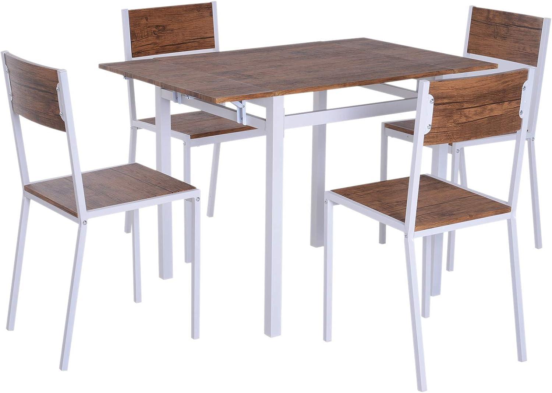 HOMCOM 5 Piezas Conjunto de Mesa Extensible y 4 Sillas de Comedor Juego Muebles de Cocina Sala Madera y Metal