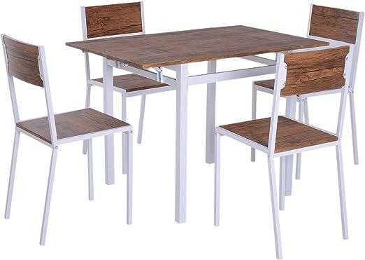 Comprar HOMCOM 5 Piezas Conjunto de Mesa Extensible y 4 Sillas de Comedor Juego Muebles de Cocina Sala Madera y Metal