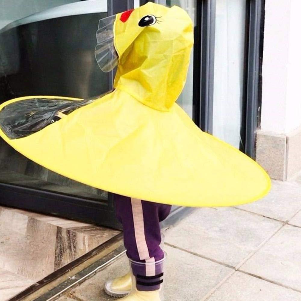 Niedlichen Kinder Cartoon Mantel Mit Kapuze Regenmantel Mantel Tragbare Regenm/äntel Volwco Kinder UFO Regenmantel Faltbare Magische Freih/ändige Regenm/äntel