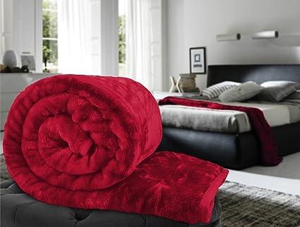 Pasricha Handlooms Super Soft Single Bed Mink Polyester Blend Blanket (Maroon)