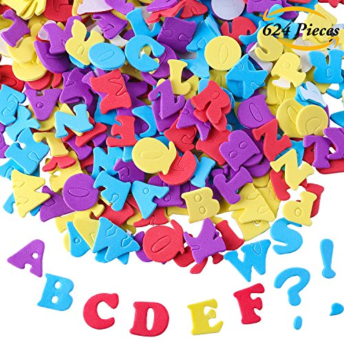 Aneco 624 Pieces Adhesive Foam Letters Self-Adhesive Letter Stickers Alphabet Stickers A to Z Colorful Letter Stickers Foam Letters For Crafts