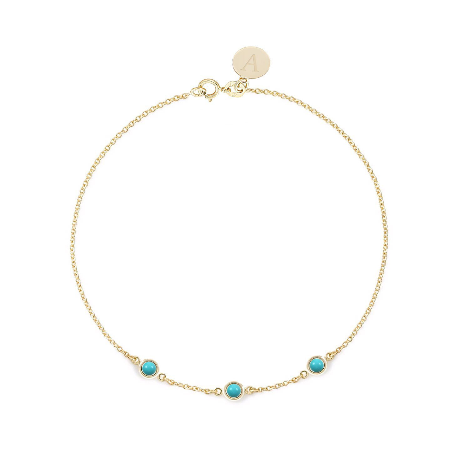 BallucciToosi Turquoise Bracelet - Real 14k 18k Solid Yellow Rose White Gold - Round bezel set Solitaire Charm - Blue Turquoise Charm personalized for Women - Free Initials Engraving