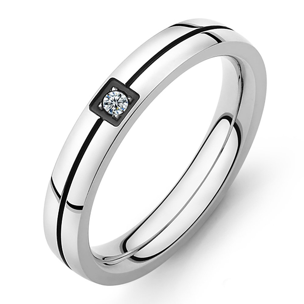 Mintik His Hers Cubic Zirconia Ring Set Stainless Steel Men's Women's Couples Eternity Engagement Wedding Christmas Ring Band Mintik Jewelry M-R-029