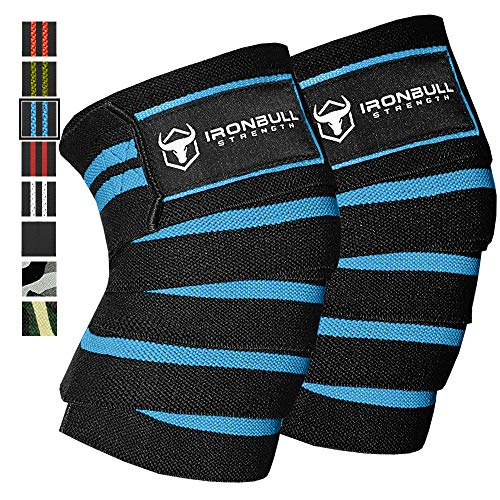 Iron Bull Strength Knee Wraps (1 Pair) - 80 Elastic Knee Elbow Support & Compression Weightlifting, Powerlifting, Fitness, WODs & Gym Workout - Knee Straps Squats (Black/Blue)