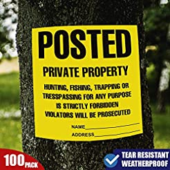 Posted Private Property Signs, No Trespa...