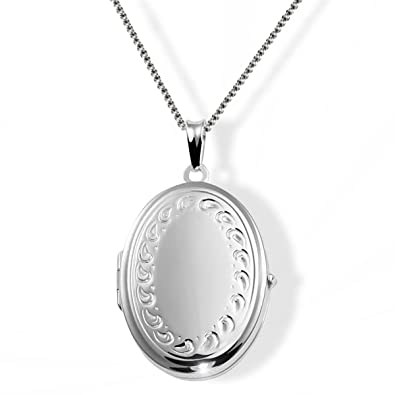 Goldmaid Women's Locket 925 Sterling Silver Necklace with Flower Adornment 9SgTuT
