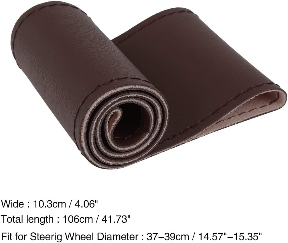 X AUTOHAUX DIY Hand-Stitched Car Steering Wheel Cover Breathable Anti-Slip 37-39cm Brown Microfiber Leather