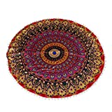 Auwer Gorgeous Mandala Sofa Pillow Case Round Bohemian Floor Throw Decorative Meditation Cushion Cover Ottoman Pouf For Sofa,Bed,Chair,Auto Seat , Home Decor Design Vintage Style Pillowcase (A)