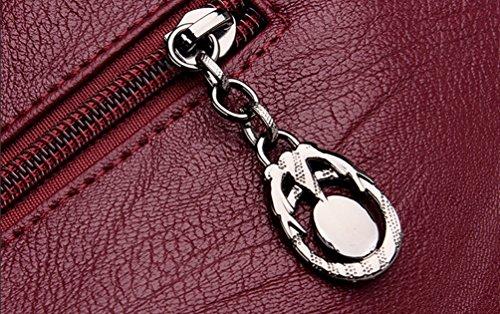 de Bolsa de Clásico YAANCUN Suave Manera las Temperamento de de Hombro Rojo Bolso Mujeres Manera Crossbody la Bolsa de Cuero Bolsa nYTYwqBE