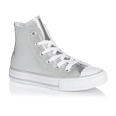cd79fec5771ab CONVERSE All Star Hi Cuir C Argent  Amazon.fr  Chaussures et Sacs