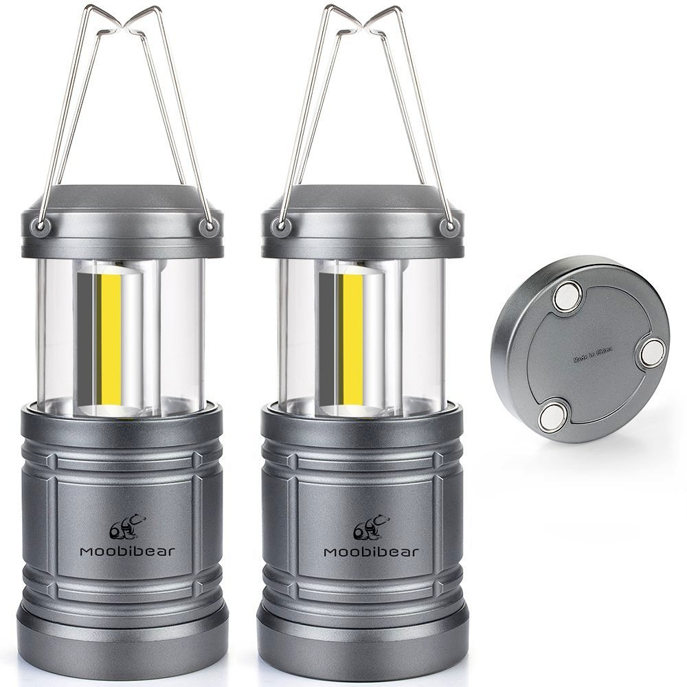 LED Camping Lantern Lights Collapsible - Moobibear 500lm COB Technology Camping Lantern Battery Powered with Magnetic Base for Night, Fishing, Hiking, Emergencies, 2 Pack