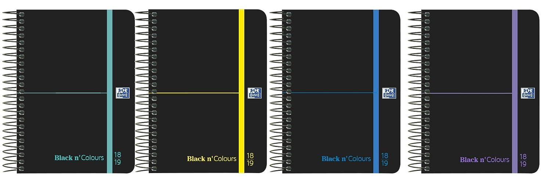 Oxford Black NColors - Agenda escolar, semana vista con espiral y tapa plástico, A6