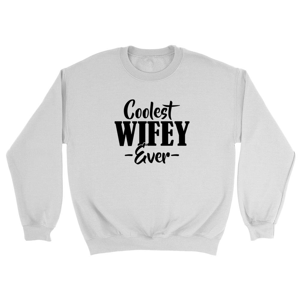 keeponprint Coolest Wifey Ever Funny Christmas Anniversary Wedding Engagement Gift Ideas for Couple Valentines Day for him for her New Wife to be Sweatshirt Large White
