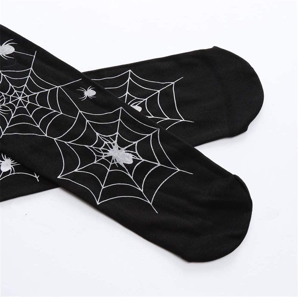 D Halloween Thigh High Socks Black Leg Bone Zip Bats Spiderweb Print Over Knee Tube Sock Halloween Cosplay Costume Accessories Props Party Favors