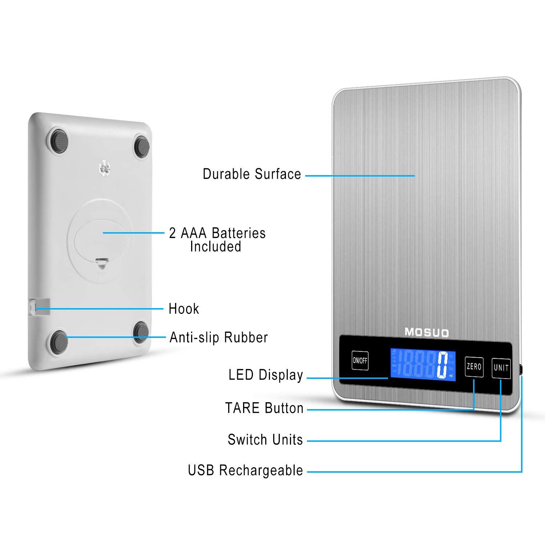 MOSUO Báscula Cocina Digital con Cable USB, Balanza Electronica Bascula de Alimentos Bascula Precision 10kg/22lbs Acero Inoxidable Peso de Cocina ...
