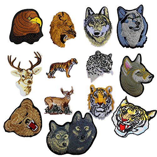 13pcs Assorted Lion Tiger Leopard Wolf Deer Eagle Embroidered Safri Animal Patches Sew Iron on Applique Badge by Zhiheng