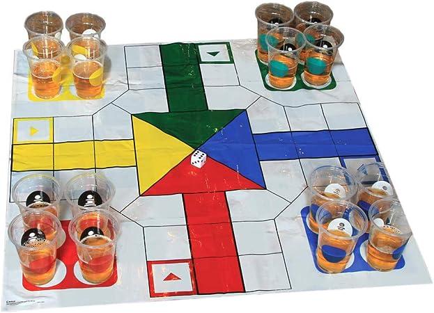XXL Parchís y ajedrez Juego de beber con 32 vasos Juego y campo – XXL Ajedrez y Ludo Beber cerveza Party parte: Amazon.es: Jardín