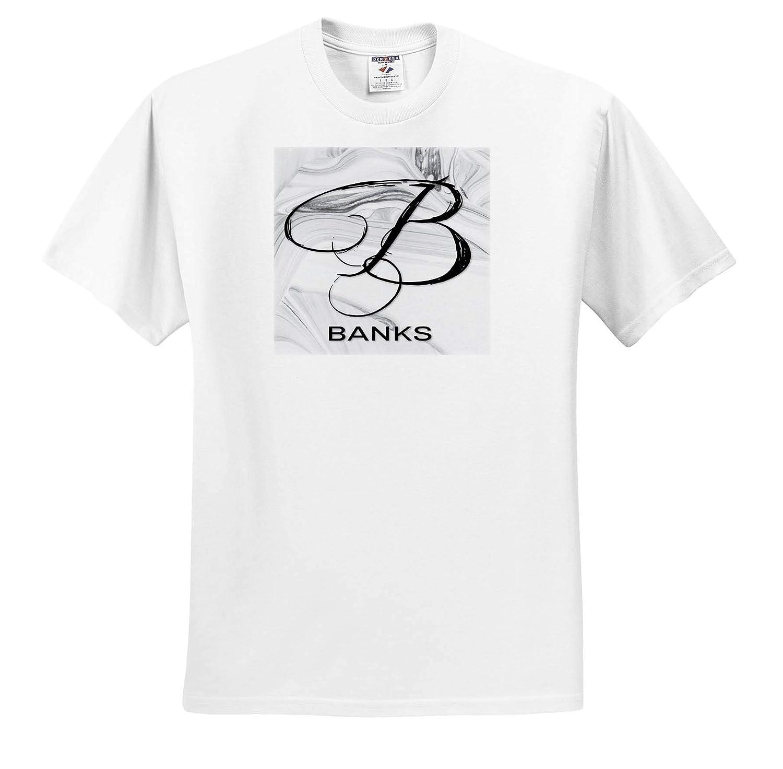 3dRose BrooklynMeme Monograms T-Shirts White Marble Monogram B Banks