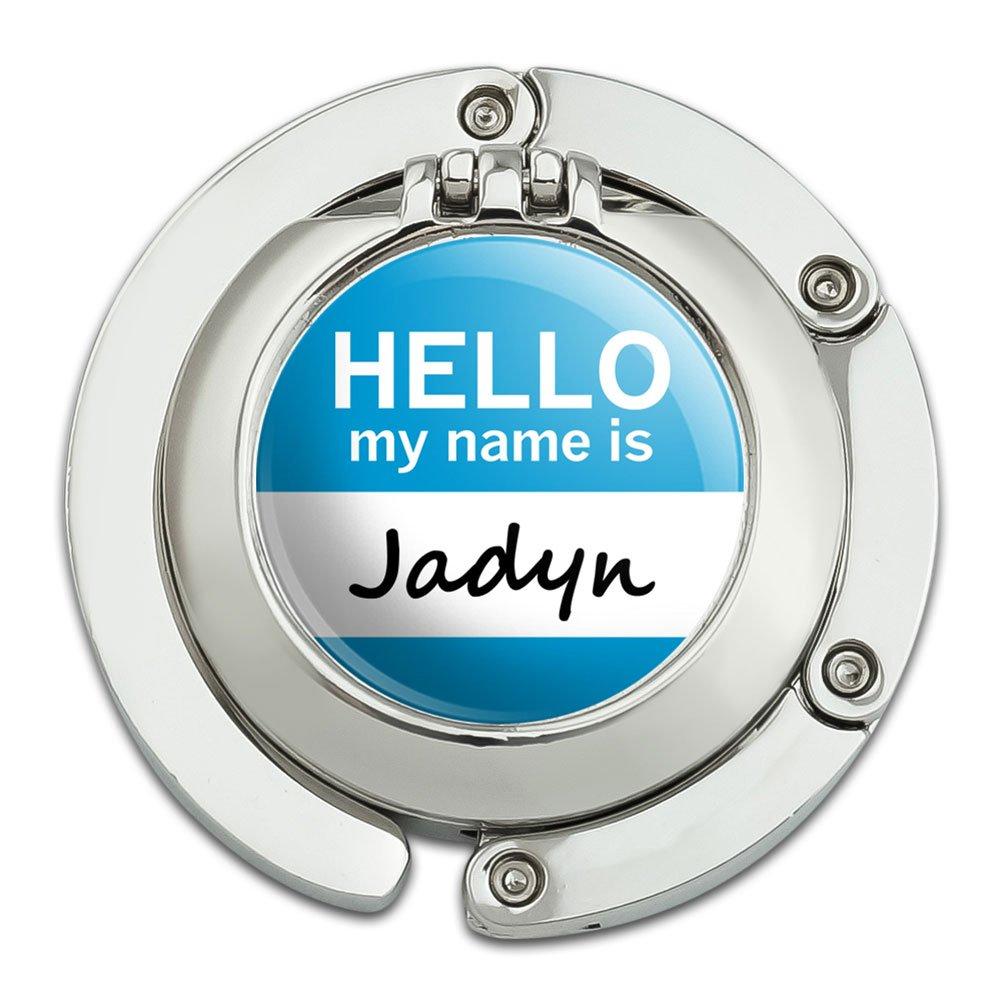 Jadyn Hello My Name Is Foldable Table Bag Purse Caddy Handbag Hanger Holder Hook with Folding Compact Mirror