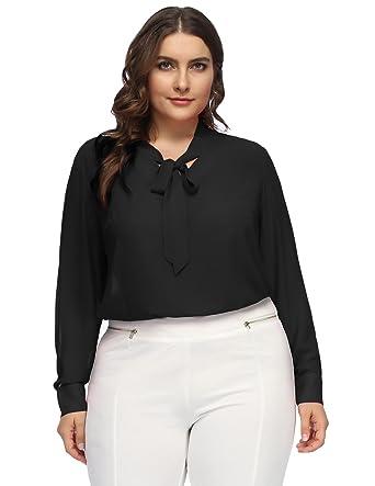 4f1301a8644 Hanna Nikole Women Plus Size Chiffon Long Sleeve Business Shirt Bow Tie  Blouse Shirt 16W Black