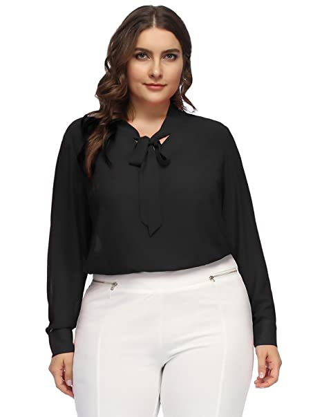 ca2d0b22c081b7 Hanna Nikole Women Plus Size Chiffon Long Sleeve Business Shirt Bow Tie Blouse  Shirt 16W Black
