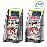 Halter Steel Mesh Magazine Rack/Literature Rack - 4 Pocket - Black - 2 Pack