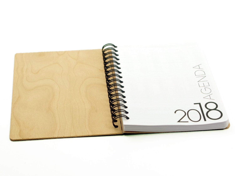 Agenda semanal 2018 con tapas de madera de cerezo, formato ...