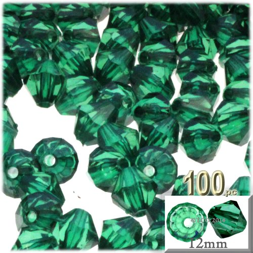 12 Mm Bicone (The Crafts Outlet, 100-pc Acrylic Bicone Beads, Faceted, 12mm, Emerald Green)