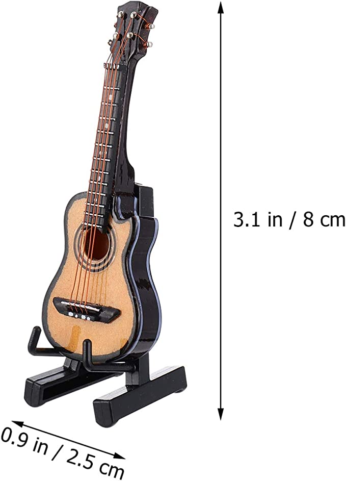 COLLECTABLE ORNAMENTAL // DISPLAY ONLY WOODEN MINI GUITAR WITH STAND BRAND NEW