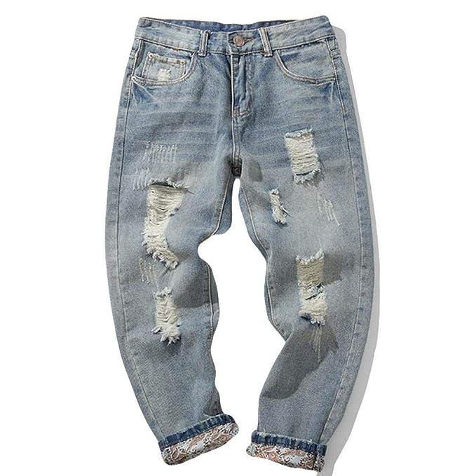 bd8c4b7e608fb ZODOF Jeans de Moda Casual para Hombres Pantalones de Mezclilla de algodón  para Hombres Ocasionales del otoño del Dril de algodón de la Colada del  Vintage ...