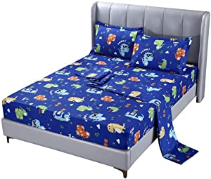 SDIII 4PC Dinosaure Bed Sheets Queen Size Animal Bedding Sheet Sets with Flat Fitted Sheet for Boys, Girls and Kids