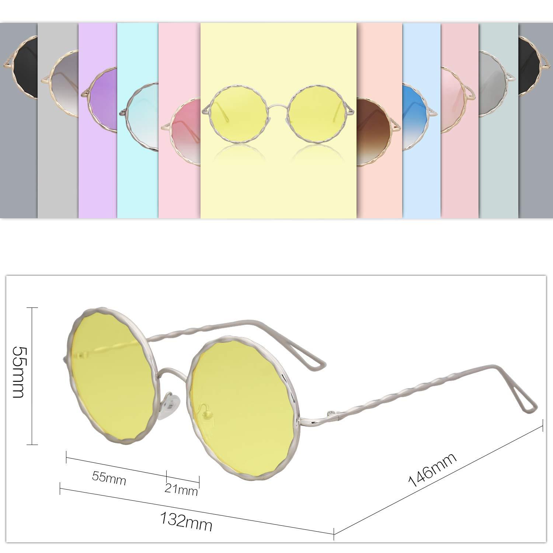 SOJOS Lunettes de Soleil Rond M/étal pour Femme SJ1090