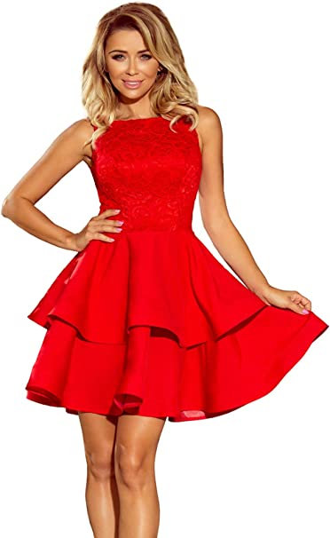 Numoco Kleid Minikleid Abendkleid Spitze asymmetrischer Rock figurbetont Ärmel