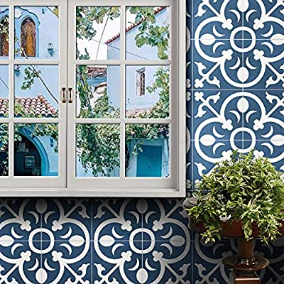 "Moroccan Mosaic & Tile House CTP31-07 Nador Handmade Cement Tile 8x8"" Navy Blue/White"