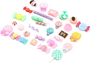 60Pcs Mix Lots Resin Flatback Lollipop Fruit Candy Gummy Food Charm Art Album Flat Back Phone Scrapbooking Hair Clip Hairpin Sewing DIY Craft Accessory Jewelry Decoration Dollhouse Ornament