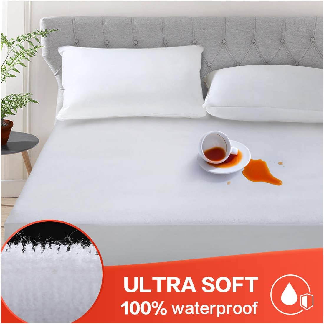 """HEPERON Queen Size Ultra-Soft & 100% Waterproof Mattress Protector, Mattress Pad, Mattress Cover, Vinyl-Free, Comfortable & Noiseless, Fitted for 8""""-21"""" mattresses (Snow White, Queen)"""