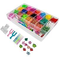 ONECK Elastieken DIY Kit met 4400 elastieken met geweven frame en haken loombanden, set voor armbanden