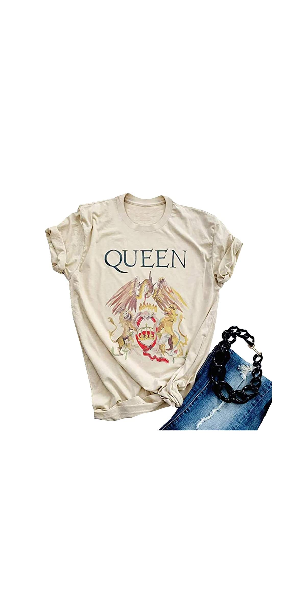 Queen Shirts Vintage Tshirt Music Concert Tees For Women Short