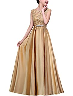 fbc1efda16 Fanhao Women s Elegant O Neck Floral Lace Satin Long Evening Prom Dress