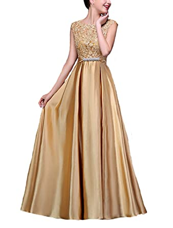 Fanhao Womens Elegant O Neck Floral Lace Satin Long Evening Prom Dress ,Golden,L