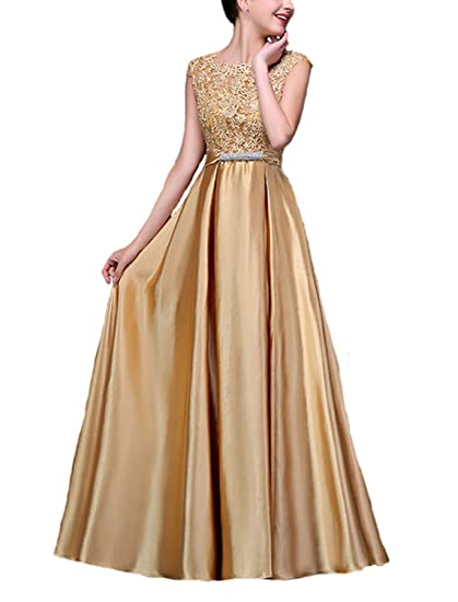 Fanhao Womens Elegant O Neck Floral Lace Satin Long Evening Prom Dress,Golden,S: Amazon.co.uk: Clothing