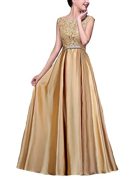 fanhao elegante de la mujer o cuello floral encaje satén vestido largo de noche Prom: Amazon.es: Ropa y accesorios