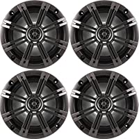 2- Pair (4-Speakers) Kicker 6.5 195W Marine Audio Coaxial Stereo , Charcoal Grills