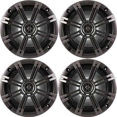 2- Pair (4-Speakers) Kicker 6.5'' 195W Marine Audio Coaxial Stereo , Charcoal Grills