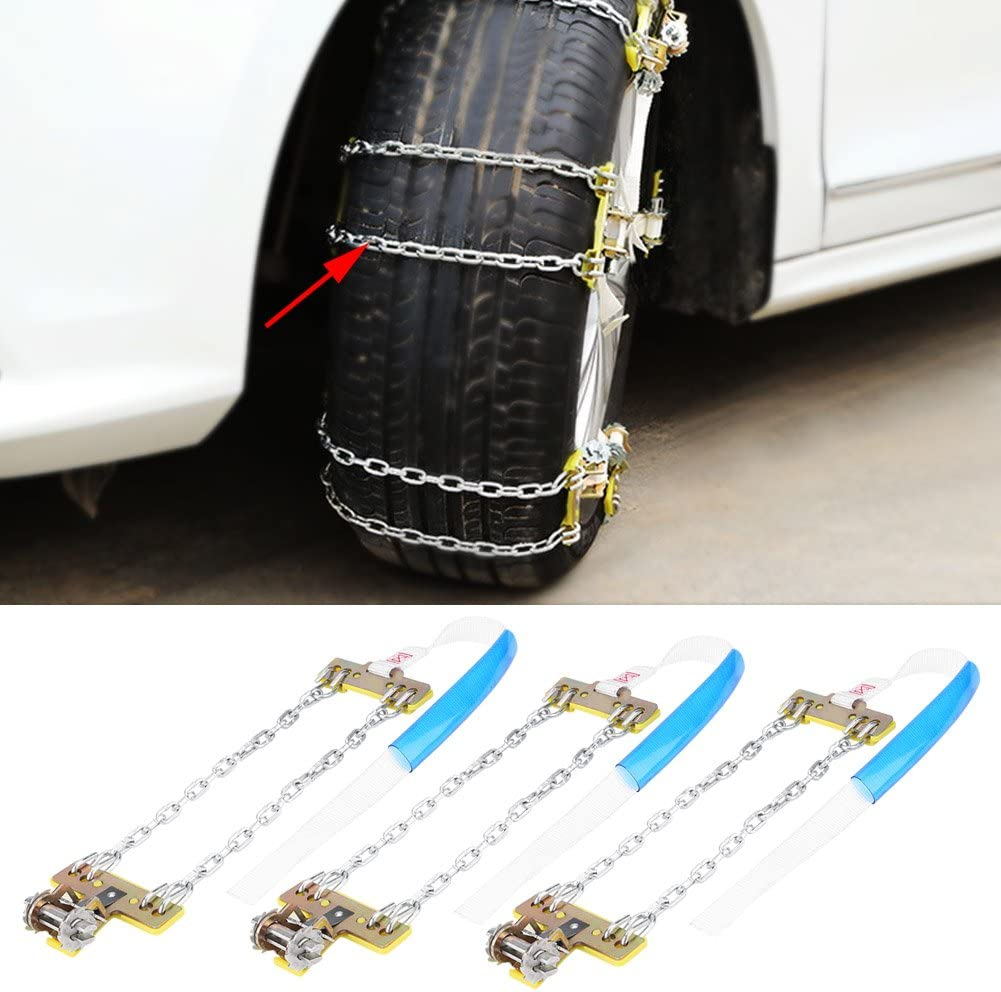 Acouto 3PCS Snow Tire Anti Skid Chains Steel Tire Chains Security Anti-Slip Snow Chain Belt For Car Truck SUV RV Large