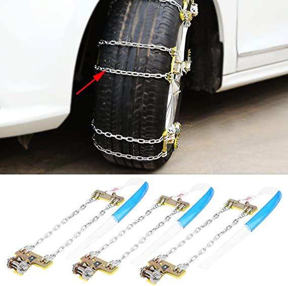 3 Stücke Metall Reifen Ketten Reifen Rutschfeste Stahlkette Schnee Schlamm Auto Sicherheitsreifen Gürtel Geeignet Für Auto Lkw Suv 205 225 Mm Auto