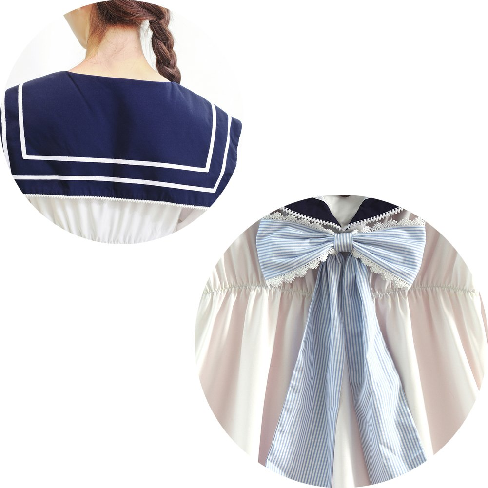 Lemail Girls Sailor School Uniform Chiffon Japanese Long Sleeve Pleated Mini Dress Blue 3XL by Lemail wig (Image #6)