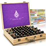#4: Essential Oil Wooden Box - Storage Case With Handle. Holds 68 Bottles & Roller Balls. Natural Plant Based Wax Finish. Large Organizer Best For Keeping Your Oils Safe. Free Padding And EO Labels