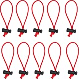 Foto&Tech 10-Pack Multipurpose Extra Thick Toggle Tie/Cable Tie and Organizer Adjustable/Elastic Loop/Instant Clutter Killer/Tangle Tamer/Cable Management for Cord & Cable Reusable (Red)
